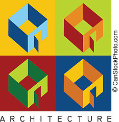 Colorful illustration of four housing models in high contrast