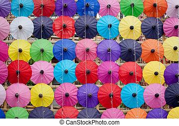 umbrella made ??of paper / cloth Arts and crafts of the village Bo Sang, Chiang Mai Thailand.
