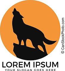 Howling wolf circle shaped logo design.