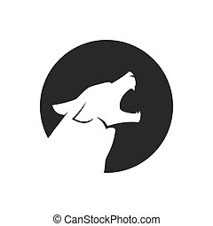 Howling wolf head logo or icon in black and white