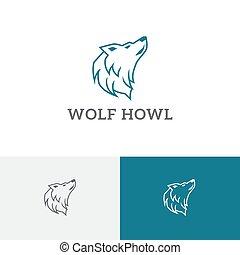Howling Wolf Head Wild Wildlife Line Logo