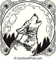 Howling Wolf Head with Moon and Ornate Frame Vector Illustration