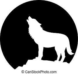 Howling wolf in front of the moon