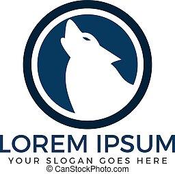 Howling wolf logo design.
