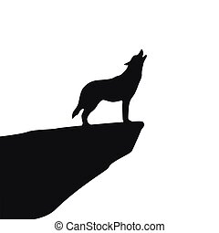 howling wolf silhouette on white background