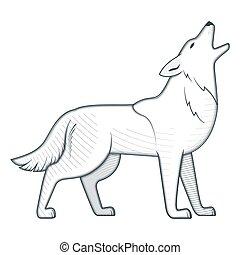 Howling wolf vintage vector illustration