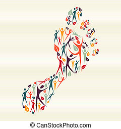 Man family concept footprint shape made with and human silhouettes.