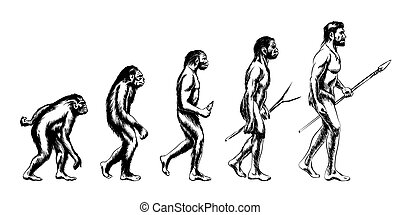 Human evolution. Monkey and australopithecus, neanderthal and animal, vector illustration