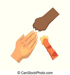 Human hand, cat and dog paw, friendship, training, veterinary care concept vector Illustration on a white background