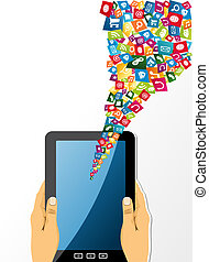 Human hands holds tablet pc with app icons.