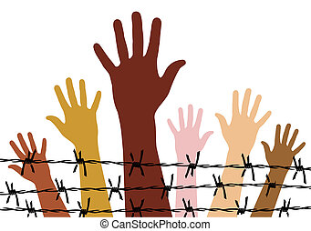 Diversity hands behind a barbed wire. Vector available.