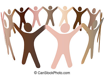 Human skin tones join hands and blend together in a ring of diverse multicultural people.