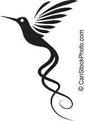 Hummingbird tattoo isolated on white. Decorative vector illustration.