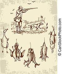 Vintage hand drawn wild animals and hunter