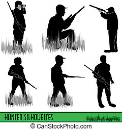 Six different hunter silhouettes isolated on white background.