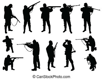 hunters silhouettes - vector