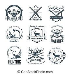 Hunting club icons hunt adventure hunter gun rifle open season wild animal