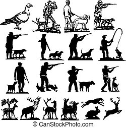 hunting collection silhouettes - vector