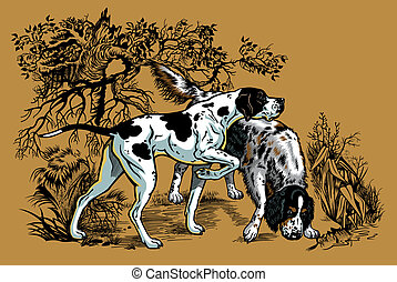 hunting dogs in forest, english pointer and setter breeds, illustration