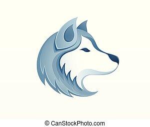 Husky dog head logo vector illustration - winter outdoor siberian husky sledding safari logo icon