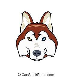 husky dog head mascot. Flat style. Different eyes.