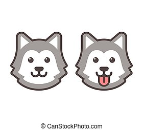 Cute cartoon husky dog head icons, smiling and sticking out tongue. Flat simple vector illustration.
