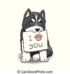 Husky Puppy With I Love You Sign. Cartoon Character Illustration