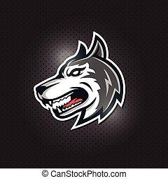 husky, wolf head esport gaming mascot logo
