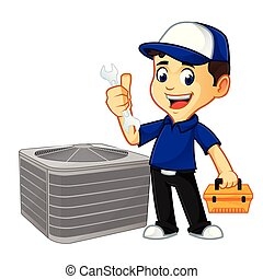 Hvac Cleaner or technician hold wrench and toolbox cartoon illustration, can be download in vector format for unlimited image size