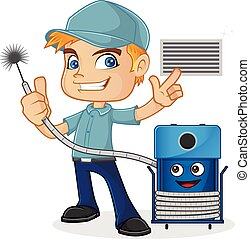 HVAC Technician holding cleaning machine isolated in white background