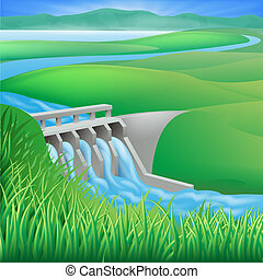 Illustration of a hydroelectric dam generating power and electricity