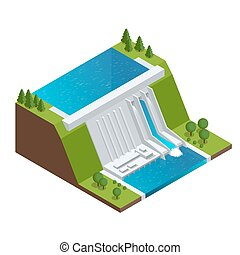 Hydroelectric Power Plant. Factory Electric. Water Power Station Dam Electricity Grid Energy Supply Chain. Flat 3d vector Illustration Isometric Building