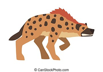 Hyena as Carnivore Mammal with Spotted Coat and Rounded Ears Attacking Vector Illustration. Wild Feliform Animal with Thick Neck and Short Hind Legs as African Fauna Concept