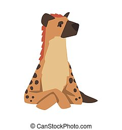 Hyena as Carnivore Mammal with Spotted Coat and Rounded Ears Sitting Vector Illustration. Wild Feliform Animal with Thick Neck and Short Hind Legs as African Fauna Concept