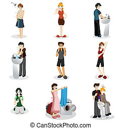 A vector illustration of people practicing good hygiene