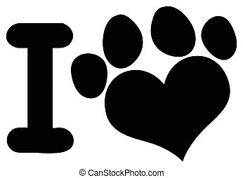 I Love Animals With Black Heart Paw Print Logo Design