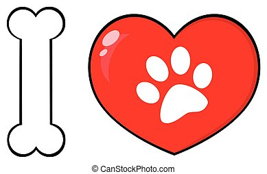 I Love Animals With Bone And Red Heart With Paw Print Logo Design