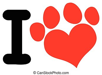 I Love Animals With Red Heart Paw Print Logo Design