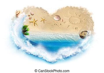 Beach, sea, shells, compass framed in a heart-shaped frame