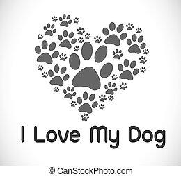 I Love Dog symbol and cute Dog