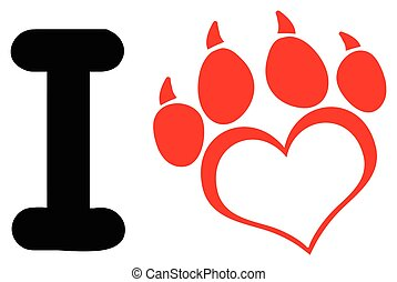 I Love Dog With Red Heart Paw Print With Claws Logo Design