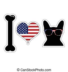 I love french bulldog with american symbols with black shape of a dog