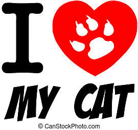 I Love My Cat Red Heart With Text