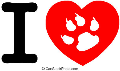 I Love My Cat Text With Red Heart