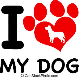 I Love My Dog Text With Red Heart
