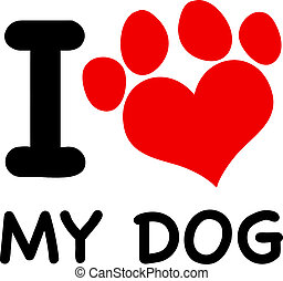 I Love My Dog Text With Red Paw