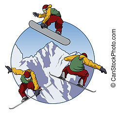 Illustration of a snowboarder doing tricks - Three different positions - Cartoon style