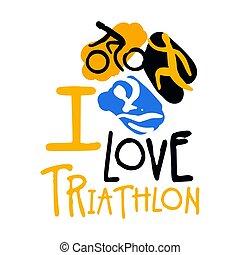 I love triathlon logo. Colorful hand drawn illustration