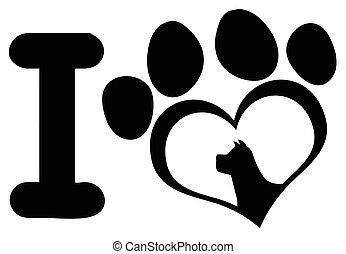 I Love With Black Heart Paw Print With Claws And Dog Head Silhouette Logo Design