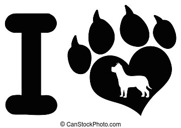 I Love With Black Heart Paw Print With Claws And Dog Silhouette Logo Design
